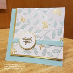 SAB Springtime Foil - Thank you: Clean and simple fun with SAB Springtime Foil SDSP, Eastern Beauty Thank You Gold Embossed and Faux Suede Technique | be Carol Lovenstein www.pinkstampagne.com | Stampin' Up! Handmade Card Idea
