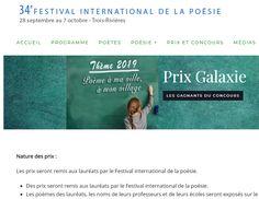 Les prix Galaxie est un concours de rédaction de poèmes qui vise à resserrer les liens entre les enfants du monde francophone et francophile au-delà des frontières culturellespar le biais de la poésie. Trois Rivieres, Cycle 3, Chant, Nursery Rhymes, Pageants, Program Management, Music, Children