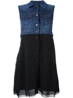 DIESEL denim panel flared dress. #diesel #cloth #jeanseinsatz