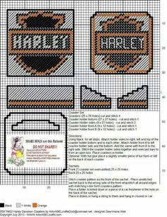 Discover thousands of images about Harley Davidson coasters Plastic Canvas Coasters, Plastic Canvas Ornaments, Plastic Canvas Tissue Boxes, Plastic Canvas Crafts, Plastic Canvas Patterns, Harley Davidson, Crochet Quilt, Beaded Cross Stitch, Canvas Designs
