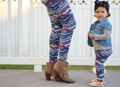 Tribal print leggings just in time for summer, a stunning diamond print set of matching mother and daughter tights to match perfectly with you little girl.