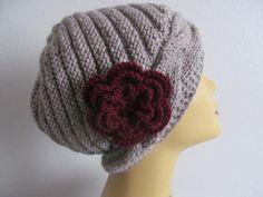 Women Beanie Hat With Flower Usa Seller by zahraknitting on Etsy