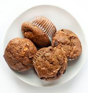 Flax muffins with coconut milk, oat flour, molasses, grated apple, and raisins. Looks sooo good and is gluten free.