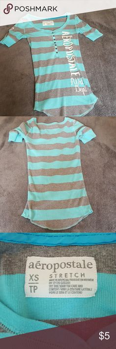 Aeropostale Short sleeved Henley Cute grey and blue light weight Henley. XS Aeropostale Tops