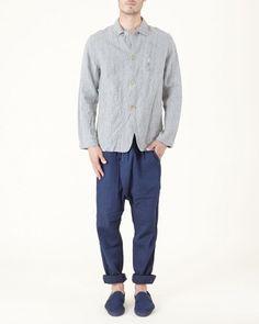 #Needles Boiled Linen Arrow Shirt in Grey
