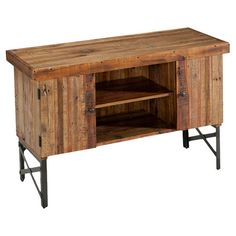 Artfully crafted of reclaimed wood and metal, this rustic console table showcases a planked top and open bottom shelf. 2 doors open to ample storage while a ...