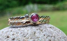 Stack sterling Silver Twist Rings with genuine .01 Diamond and 3.5 mm Pink Tourmaline on Etsy, $140.00