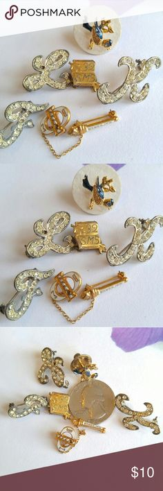 """Vintage lot of little scatter pins! Bird, initials This set of tiny vintage scatter pins is so cute! Includes gold tone scroll engraved with """" '32 SMS"""" , an enamel bluebird, F L K rhinestone initials, and a sorority (?) logo pin. All show mild to moderate age wear. May be missing a stone or tiny pearl. Super cute!  From a smoke free home :)  8188pins888 Vintage Jewelry Brooches"""