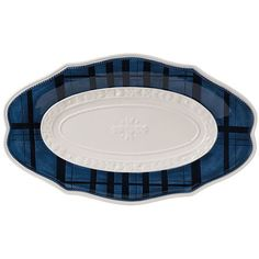 Bristol Oval Tray Serving Plates & Platters ($23) ❤ liked on Polyvore featuring home, kitchen & dining, serveware, oval platter, fitz and floyd platter, fitz and floyd, oval tray and blue and white platter