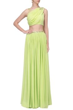 POOJA PESHORIA Lime Green Mukaish and Cutdana Work Draped Lehenga Set. Shop Now! #poojapeshoria #limegreen #cutdana #draped #lehenga #georgette #ethnic #indianfashion #indiandesigners #perniaspopupshop #happyshopping