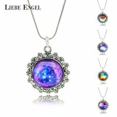 LIEBE ENGEL Fashion Glass Cabochon Necklace&Pendant Vintage Silver Color Jewelry Newest Moon Statement Necklace Fine Jewelry