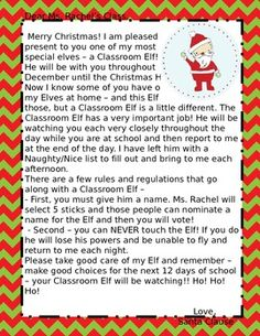 Edited this elf on the shelf poem to make it fit for our elf that we letter from santa about classroom elf on the shelf editable spiritdancerdesigns Choice Image