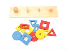 NEW Montessori Infant Toddler Material - Wooden 4 Building Blocks of Graphics #guru4montessori