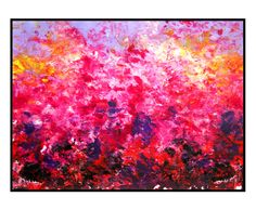 Pink abstract painting Night Sky Dusk skyline original contemporary art puple yellow red white wall hanging - pinned by pin4etsy.com