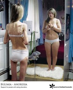 Anorexia is an illness that no matter how thin she gets she will always see the heavier image of herself instead of the almost non existing one. It becomes the power of the mind and how we strive to be perfect by media standards but can't see what's in front of our faces.