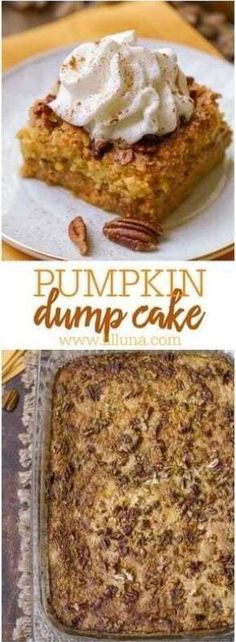 Try this fall dump cake variation - Pumpkin Dump Cake! This delicious pumpkin dump cake recipe is complete with all the fall flavors, pumpkin, pecan, and cinnamon spice. Köstliche Desserts, Delicious Desserts, Autumn Desserts, Thanksgiving Desserts, Fall Deserts Recipes, Yummy Food, Food Cakes, Cupcake Cakes, Cake Cookies