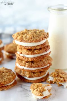 Carrot Cake Sandwich Cookies - Tender oatmeal cookies filled with cinnamon, grated carrots, coconut and walnuts, filled with cream cheese frosting. Carrot Cake Sandwich Cookies, Cookie Sandwich, Carrot Cake Cookies, Best Carrot Cake, Yummy Cookies, Gourmet Cookies, Shortbread Cookies, Fall Cookie Recipes, Cake Recipes