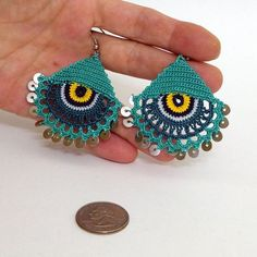 Eye Earrings - Tatting Jewelry - Summer Earrings - Lace Jewelry - Crochet Earrings - Boho Earrings: