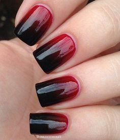 Stunning Red Black Nail Design