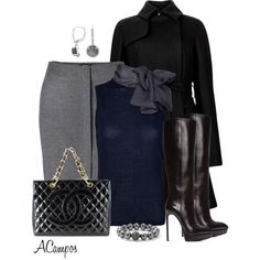 Navy Bow Top Office Look, created by anna-campos on Polyvore