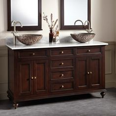 "60"" Keller Mahogany Double Vessel Sink Vanity - Dark Espresso - Double Sink Vanities - Bathroom Vanities - Bathroom"