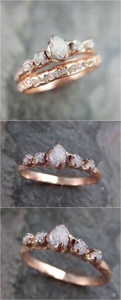 CUSTOM Raw Diamond Rose gold Engagement Ring Rough Gold Wedding Dainty Delicate Ring diamond Wedding Ring Rough Diamond byAngeline C0216