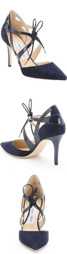 ✦ The Socialites Shoes a peak into Ms. Socialites shoe closet. Please dont drool ✦ Jimmy Choo Navy Suede And Patent Leather Lusion Pumps #jimmychooheelssuede #jimmychoopumps