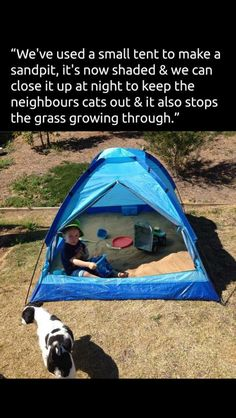 Tent outdoors sand pit play ideas
