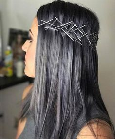 FORMULA: Hot Steel - Hair Color - Modern Salon The most beautiful hair ideas, the most trend hairsty Bobby Pin Hairstyles, Trendy Hairstyles, Vintage Hairstyles, Wedding Hairstyles, Charcoal Hair, Dark Grey Hair Charcoal, Grey Hair Brown Roots, Hair Color Formulas, Ombré Hair