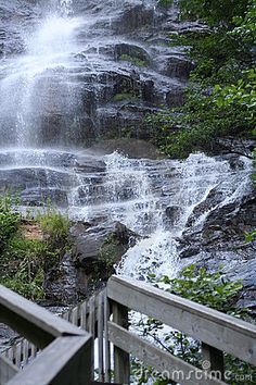 Amicolola Falls in North Georgia. Get somebody to stand on the walkway.and a picture perfect moment!