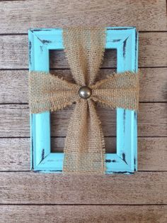 Picture frame burlap cross by Merktdesigns on Etsy