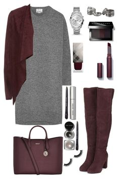 """my today's look"" by artemisluna1 ❤ liked on Polyvore featuring Topshop, DKNY, Acne Studios, Monsoon, FOSSIL, Burberry, Bobbi Brown Cosmetics and Laura Mercier"