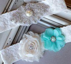 Wedding Garter Bridal Garter TEAL BLUE Garter Set by LXdesigns