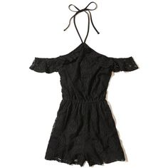 Hollister Ruffle Cold Shoulder Lace Romper ($30) ❤ liked on Polyvore featuring jumpsuits, rompers, black, lace ruffle romper, cold shoulder romper, flounce romper, lace rompers and playsuit romper