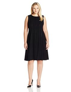 Calvin Klein Womens Plus Size Fit and Flare Sleeveless Dress BlackBlack 14 *** Continue to the product at the image link.