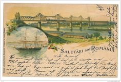 RO 34 - ( 12393 ) Romania - L I T H O, CERNAVODA, Bridge, Ship - Old Postcard - Used - 1899 - Roumanie Bridge, Old Postcards, Photos, Ship, Painting, Family History, Romania, Cards, Bridge Pattern
