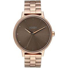 Nixon Women's Kensington Bracelet Strap Watch , Rose Gold/Brown (835 BRL) ❤ liked on Polyvore featuring jewelry, watches, rose gold jewellery, nixon watches, rose gold jewelry, leather-strap watches and polish jewelry
