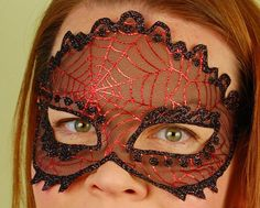 SHEER MASK Red Spider Web masquerade mask Mardi by KMCQdesigns, $35.00