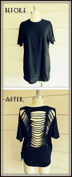 T-paidan tuunaus. Lisää ideoita Outi Pyyn Pinterest-taulussa: http://pinterest.com/outilespyy/ideas-for-diy-projects/