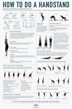 how to do a handstand infographic fitness Handstand Training, Press Handstand, How To Handstand, Wall Handstand, Handstand Progression, Handstand Challenge, Pistol Squat Progression, Calisthenics Workout, Workout Exercises