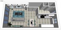 3D impressie Indeling optie 1 woonkamer Rotterdam by Flow Design