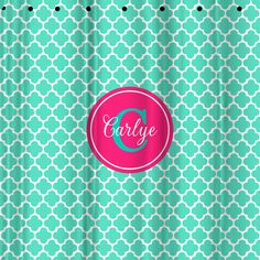 Monogram Shower Curtain - Thick Clover. Monogram your Christmas this year with the help of Two Chic Gifting Gals! We've got all kinds of gifts for girls, guys, tweens, teens, and tots. #MonogramMadness #CoolChristmasGifts