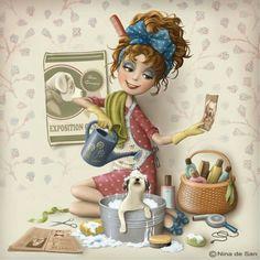 Ilustración de Nina de San. Dog bath