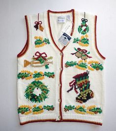 Are you planning that Ugly Christmas Sweater party this year??  Here's one for you....NEW Westbound Womens Ugly Christmas Sweater Vest with Bells, Wreaths and more.  Size Large #womensclothing #fashion
