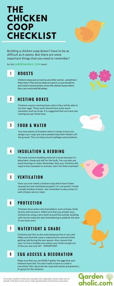 The Chicken Coop List Infographic - http://theweekendprepper.com/raising-animals/the-chicken-coop-list-infographic/