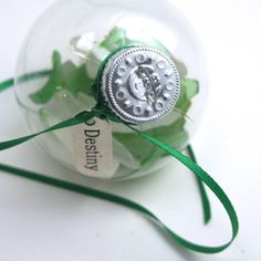 Kelly Green and White Sea Glass Ball by MermaidTearsSeaglass, $6.49