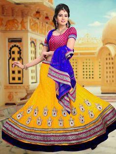 USD 94.47 Yellow Net Butta Work Wedding Lehenga Choli 31297