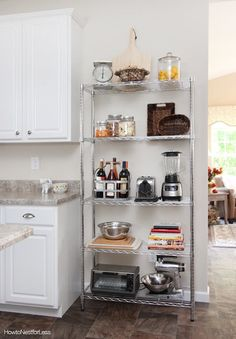 The Renter-Friendly Secret Weapon That Solved My Small Kitchen Storage Woes The Wire Shelving Unit That Solved My Small Kitchen Storage Woes Apartment Kitchen Organization, Small Apartment Kitchen, Rental Kitchen, Small Kitchen Storage, Home Decor Kitchen, Space Kitchen, Kitchen Ideas, Small Storage, Loft Kitchen