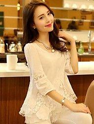 As mulheres atam manga comprida Rodada Collar Chiffon Blusa