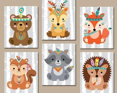 TRIBAL ANIMAL Nursery Art Woodland Tribal Wall Art Canvas or | Etsy